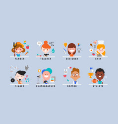 happy kids with different professions smiling vector image