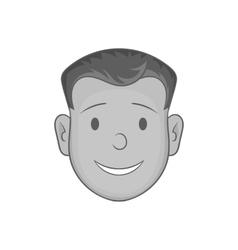 Happy male face smile icon black monochrome style vector