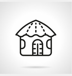 Hawaiian hut simple line icon vector
