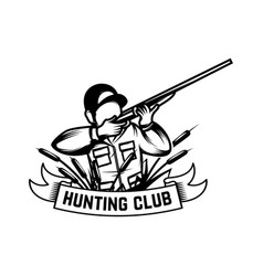 hunting club hunter with rifle isolated on vector image