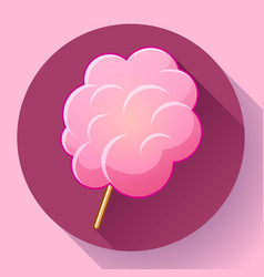 icon of cotton candy sugar cloud on stick vector image