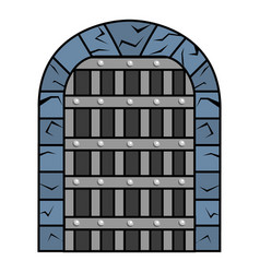 Isolated jail and medieval door vector