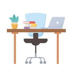Isolated office chair desk books plant and laptop vector