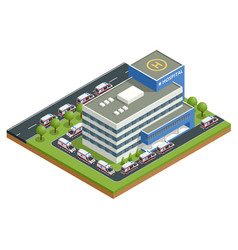 Isometric city hospital and a line ambulances vector