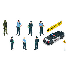isometric police officers in medical masks and vector image