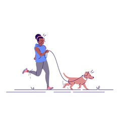 jogging woman with dog flat fitness sport vector image