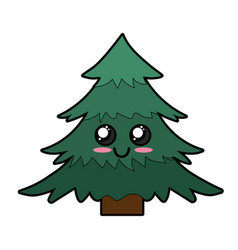 kawaii cute happy pine tree vector image