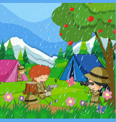 Kids camping out in the rain vector