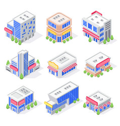 Mall store isometric buildings shop exterior vector