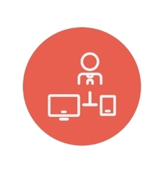 Man with computer set thin line icon vector image
