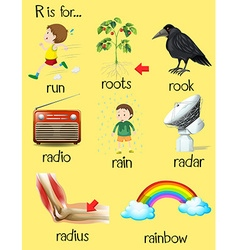 Many words begin with alphabet R vector