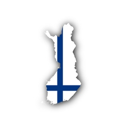 Map and flag of the Finland vector