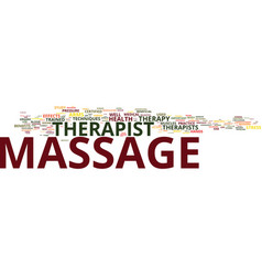 Massage therapist text background word cloud vector