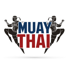 Muay thai action thai boxing jumping to attack vector