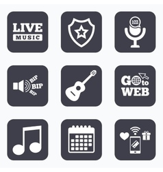 Musical elements icon Microphone Music note vector image