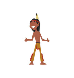 native american indian boy character in vector image