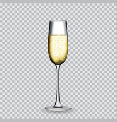 Naturalistic glass with festive champagne on vector