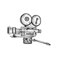 Old movie camera engraving vector