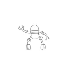 One single line drawing smart robot artificial vector