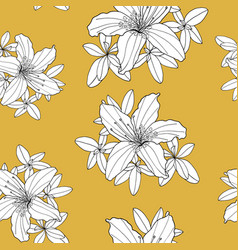 Outline seamless pattern with rhododendron flower vector