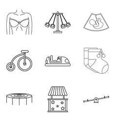 Parenthood icons set outline style vector