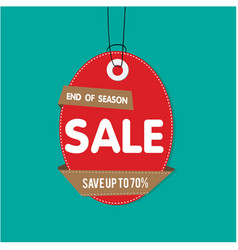 red tag sale end of season sale save up to 70 vec vector image