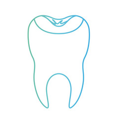 Restored tooth with root in degraded green to blue vector
