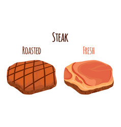 roasted and fresh steak pork made in flat style vector image