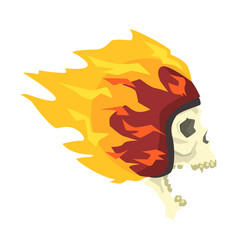 screaming scull in helmet burning in flames vector image