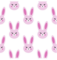 seamless kawaii pattern lovely hares on a white vector image