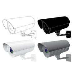Security cctv camera outline drawing black vector
