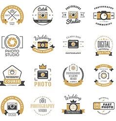 set photography logo design templates vector image