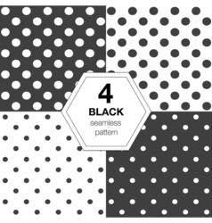 Set with seamless polka dot pattern vector