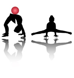 silhouettes girl gymnasts vector image