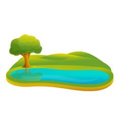 Small lake icon cartoon style vector