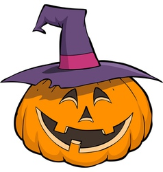 smiling pumpkin in hat vector image