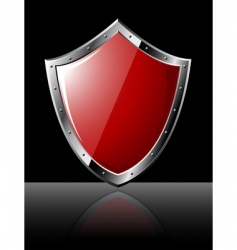 Steel shield isolated on black vector