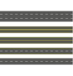 straight road set seamless asphalt roads vector image
