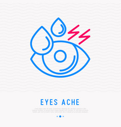Tears in eye dryness thin line icon vector
