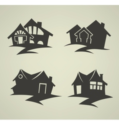 Traditional homes emblems vector