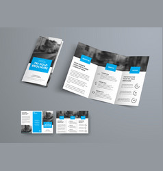 Tri-fold brochure template with blue rectangular vector