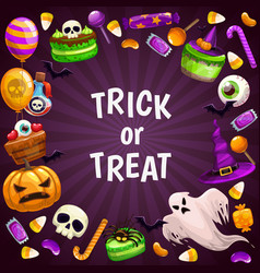 Trick or treat background spooky halloween vector