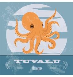 Tuvalu Octopus Retro styled image vector