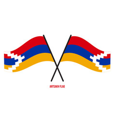 Two crossed waving artsakh flag on isolated white vector