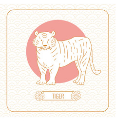 Year tiger chinese horoscope line art and vector