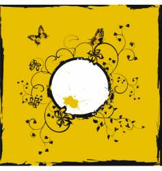yellow frame with butterflies vector image