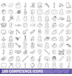 100 competence icons set outline style vector image vector image