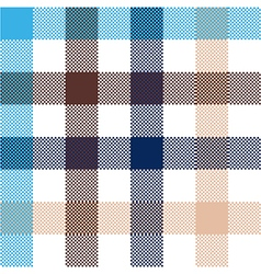 Blue beige check plaid seamless fabric texture vector image