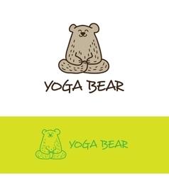 cartoon bear in yoga pose logo Cute vector image vector image