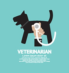 Doctors Hand With Stethoscope Checking On Dogs vector image vector image